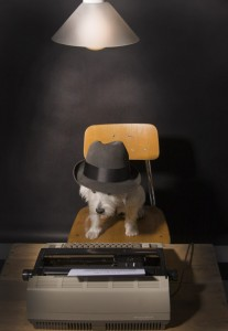 Photo of dog at typewriter